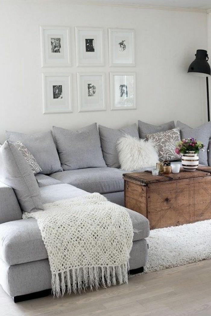 decoracion-de-salones-muy-comodo-sofá-gris