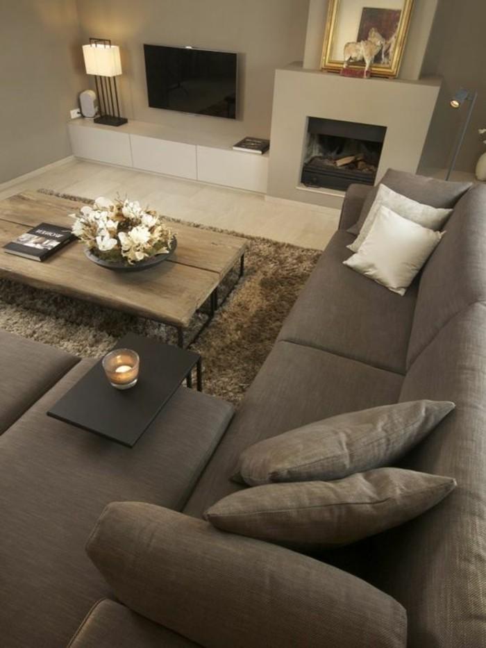 decoracion-de-salones-tonos-grises-muebles-de-madera