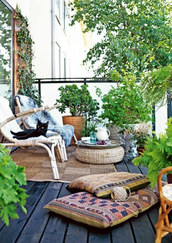 decoracion-interiores-almohadas-de-sentar-sillas-gato-negro-mesita-baja-plantas