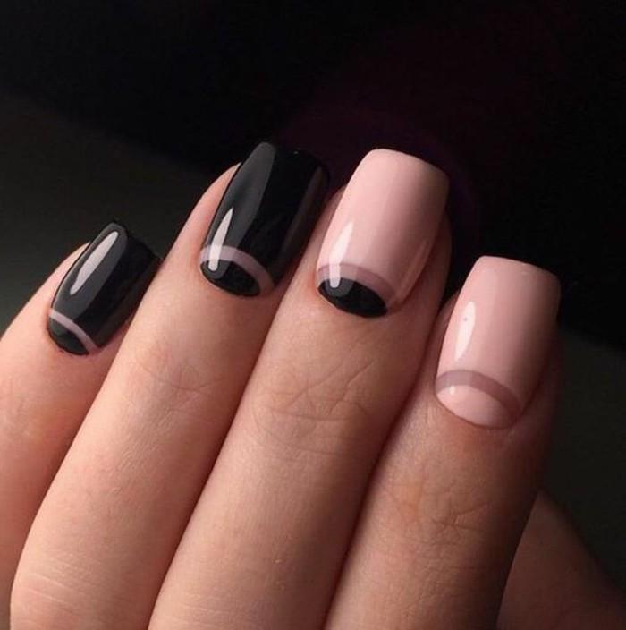 uñas-de-gel-paso-a-paso-negro-y-rosa