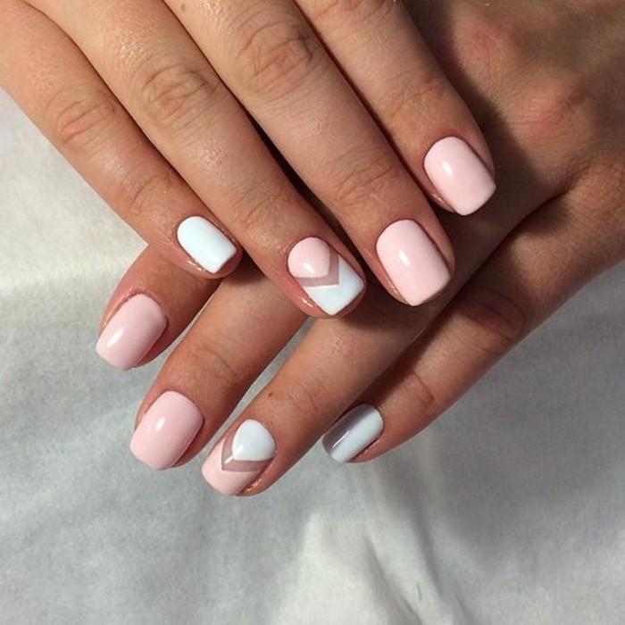 uñas-decoradas-en-tono-rosa-y-blanco-diseño-popular