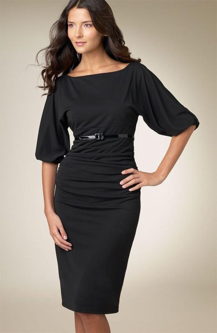 vestidos-de-noche-corto-mangas-anchas-cortas-negro-elegante