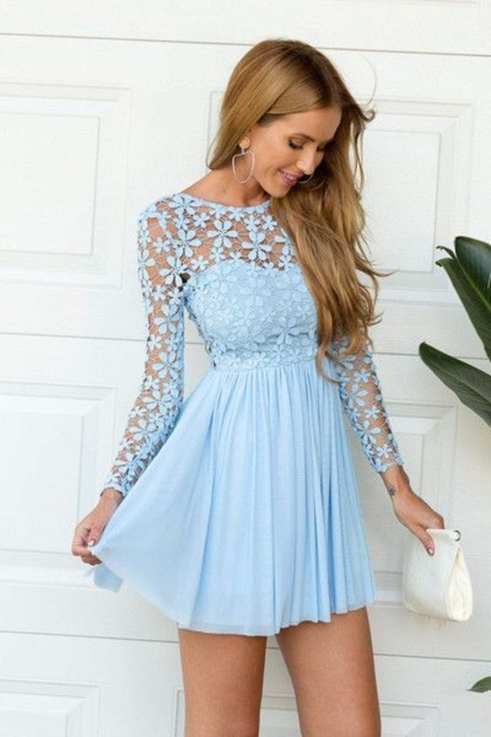 vestidos-de-fiesta-cortos-azul-encaje-de-flores-plisado