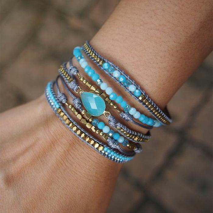 02-pulseras-de-moda-en-color-azul-pulseras-de-hilo-y-piedras-artificiales