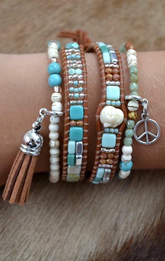 06-cómo-hacer-pulseras-de-cuero-perlas-artificiales-color-aguamarina-borla