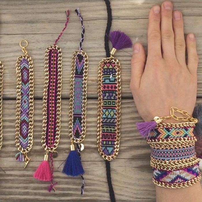 cómo-hacer-pulseras-de-hilo-multicolores-metal-borlas-diseño-tribal