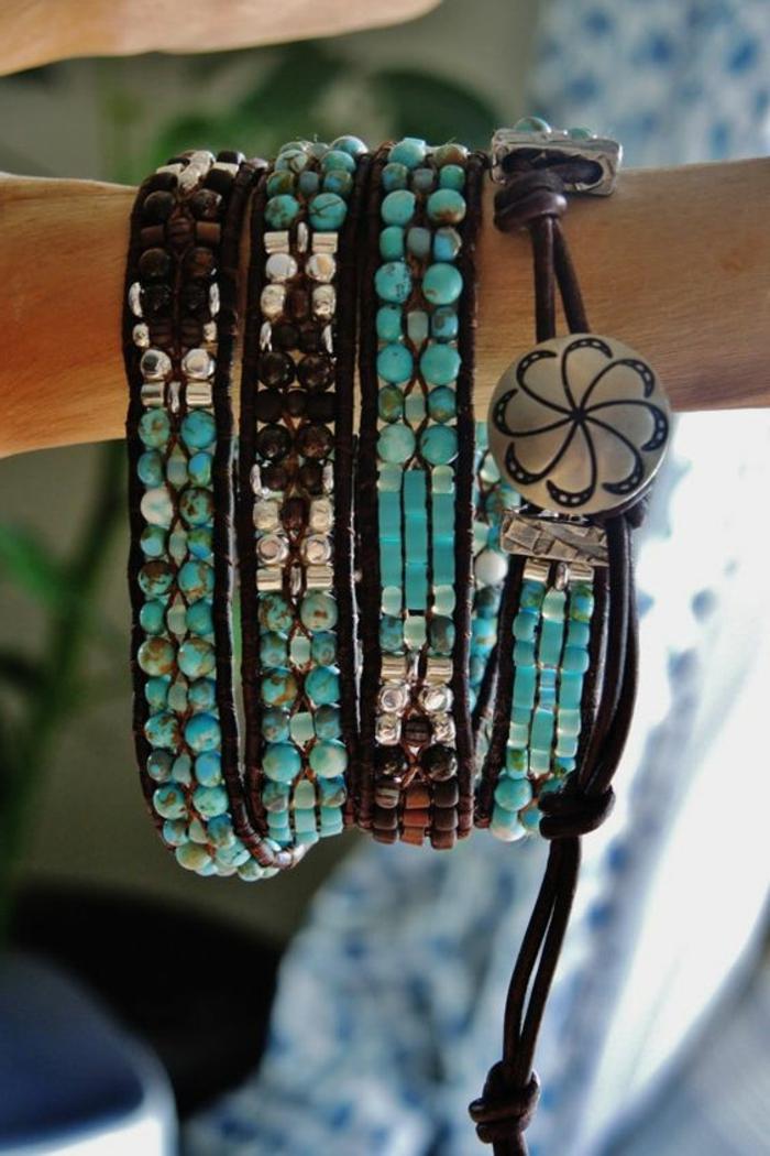 cómo-hacer-pulseras-de-piedras-preciosas-y-cuero-perlas-artificiales-elementos-de-metal