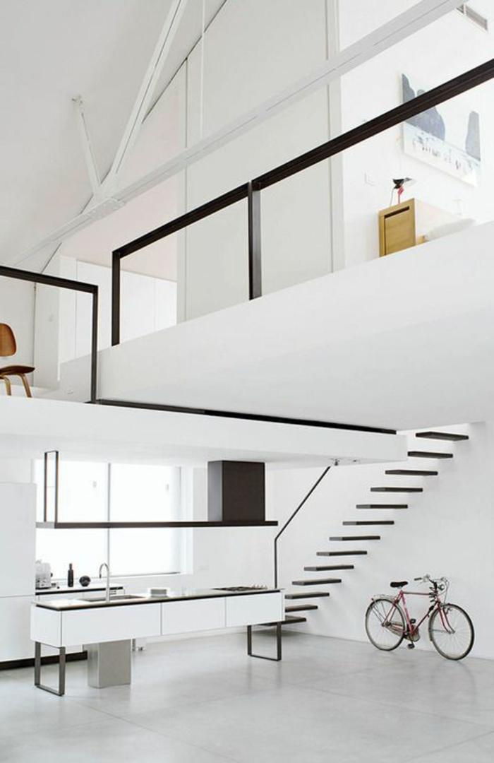 casa-minimalista-color-blanco-elementos-en-color-negro-dos-pisos-bicicleta
