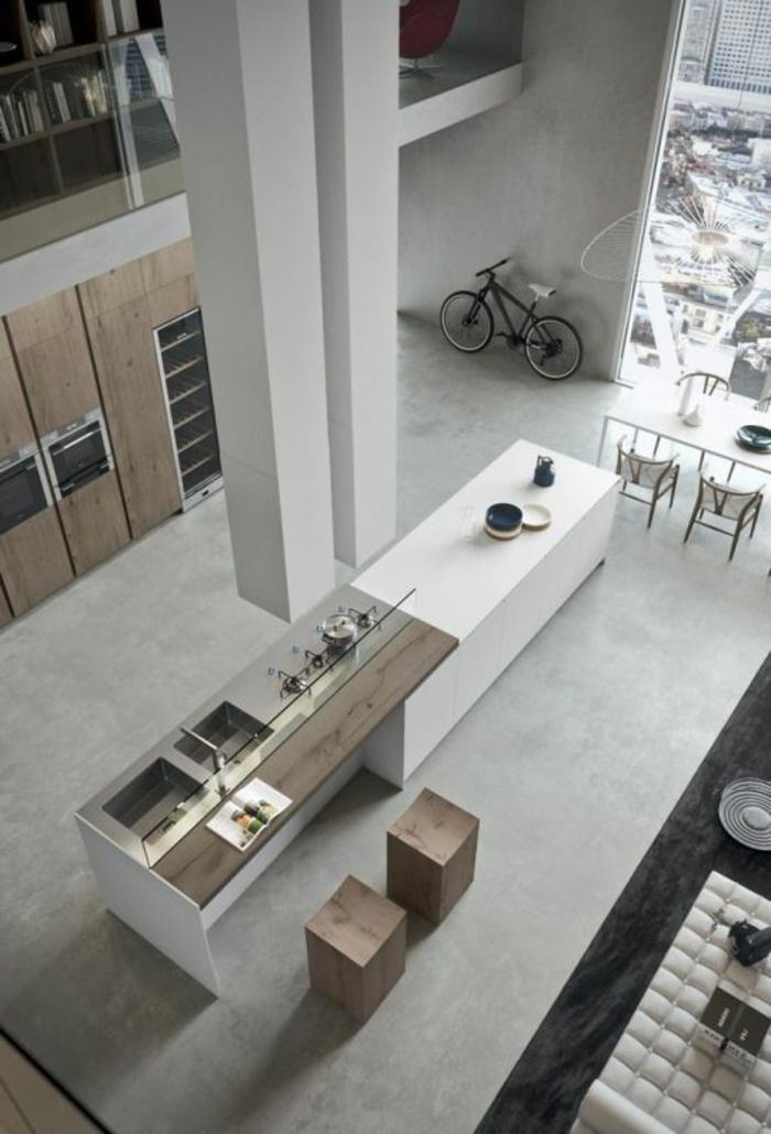 casa-minimalista-dos-pisos-tonos-naturales-muebles-de-madera-ventanas-francesas