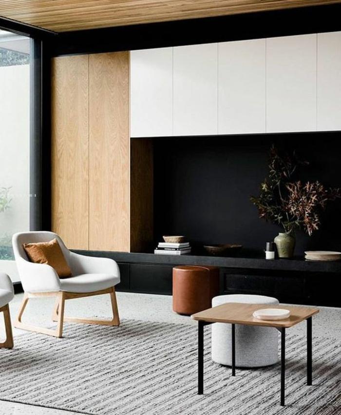 casas-minimalistas-tonos-fríos-muebles-de-madera-taburetes-pequeña-mesa-ventanas-francesas