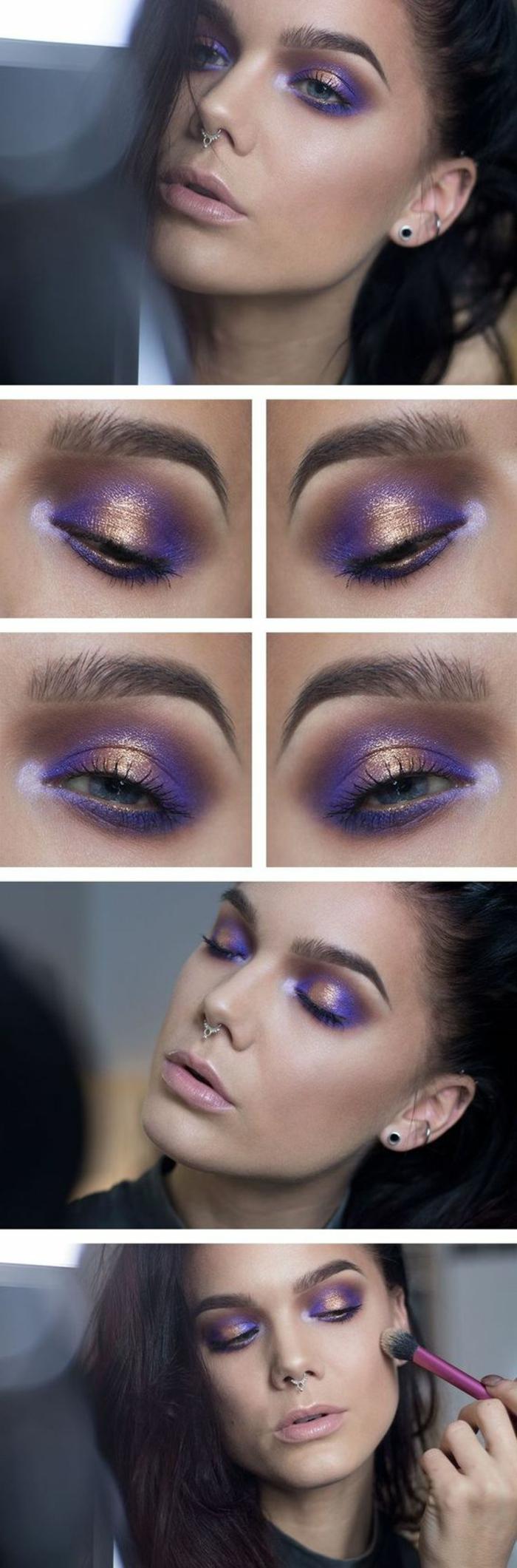 como-maquillarse-los-ojos-azules-en-tono-violeta-y-oro-maquillaje-de-noche
