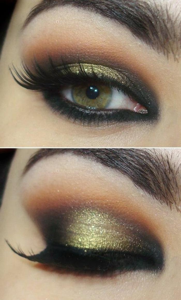 como-maquillarse-los-ojos-verdes-en-negro-y-oro-verde-ojos-ahumados