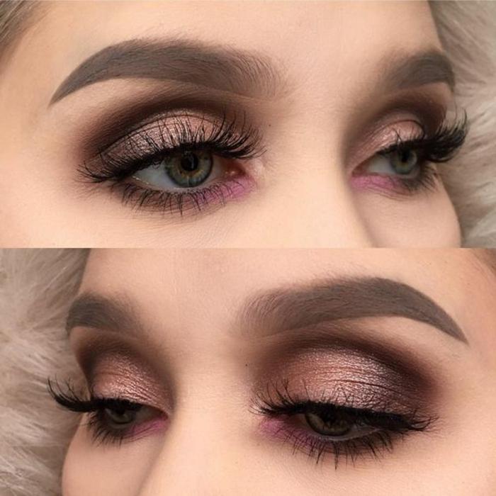 como-pintarse-los-ojos-azules-en-tonos-rosa-con-purpurina-linda-mujer