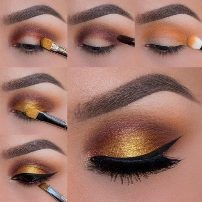 como-pintarse-los-ojos-lindos-tonos-cálidos-oro-marron-lápiz-de-ojos-negro