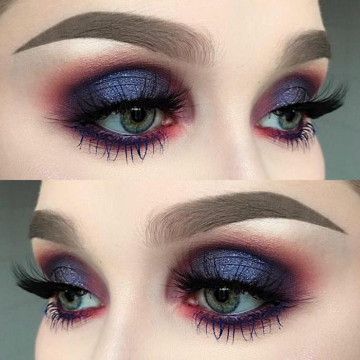 como-pintarse-los-ojos-mujer-con-ojos-azules-tonos-violetos-rojos-azules