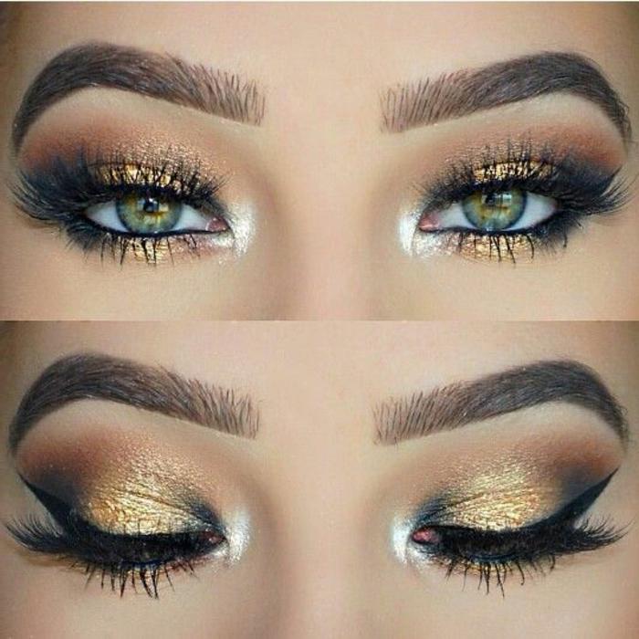 como-pintarse-los-ojos-mujer-con-ojos-verdes-maquillaje-oro-negro-lapiz-de-ojos