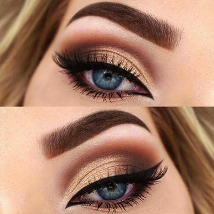 como-pintarse-los-ojos-mujer-ojos-azules-maquillaje-tonos-marrones-oro-lapiz-de-ojos