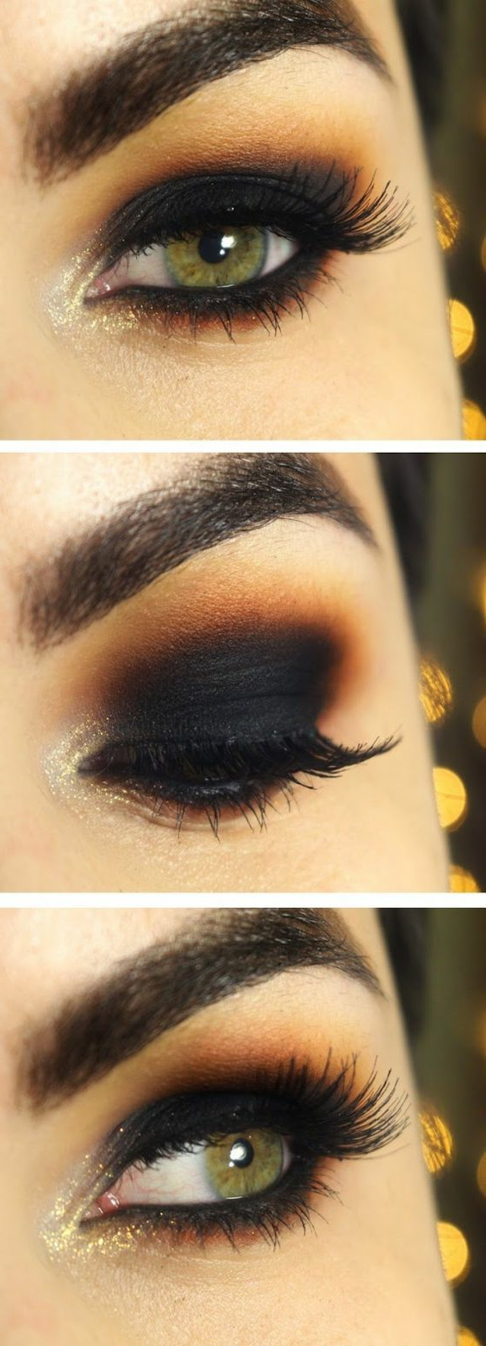 como-pintarse-los-ojos-tonos-oscuros-negro-marrón-oro-ojos-verdes