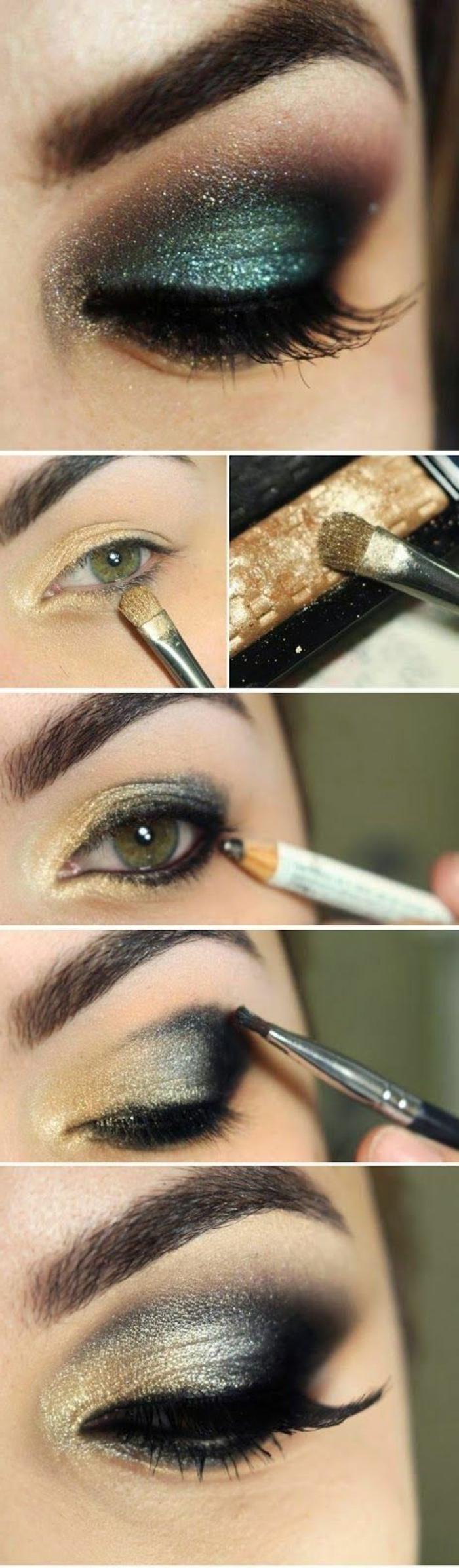 como-pintarse-los-ojos-verdes-estilo-ahumado-en-gris-y-oro