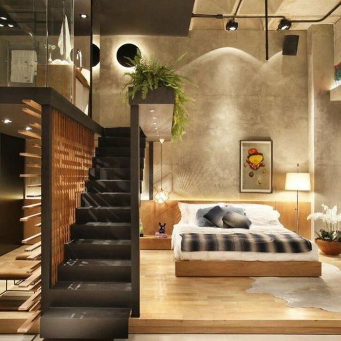 decoracion-de-dormitorios-cama-de-madera-plantas-cojines-estilo-moderno