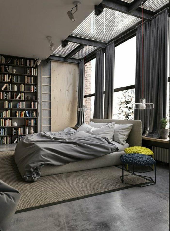 decoraciоn-de-dormitorios-estilo-moderno-tonos-grises-taburetes-de-diseño-ventanas-grandes