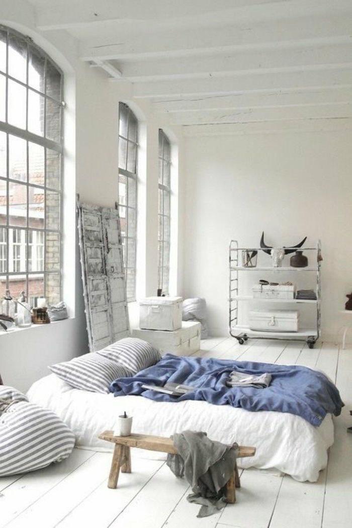decoración-de-dormitorios-paredes-blancas-estilo-moderno-manta-azul