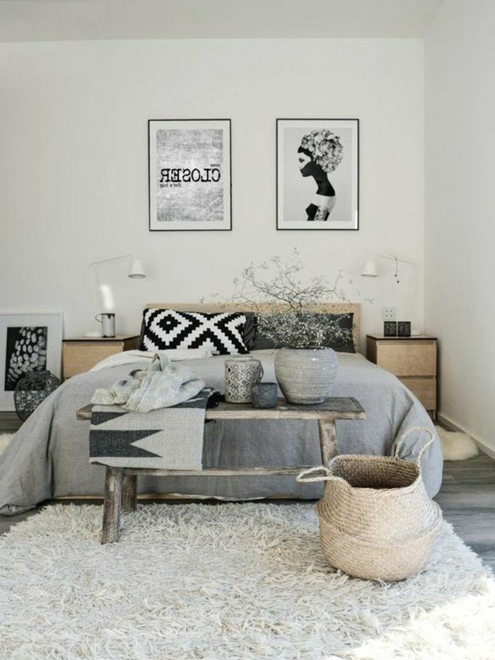 decoración-de-dormitorios-tonos-grises-cojines-decorativos-cesta-tejida-fotos-en-blanco-y-negro