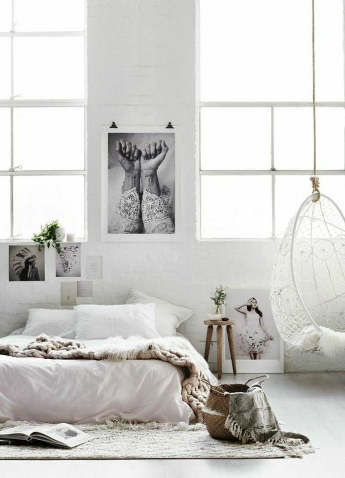 dormitorios-de-matrimonio-oscilación-manta-tejida-dormitorio-acogedor-fotos-en-la-pared