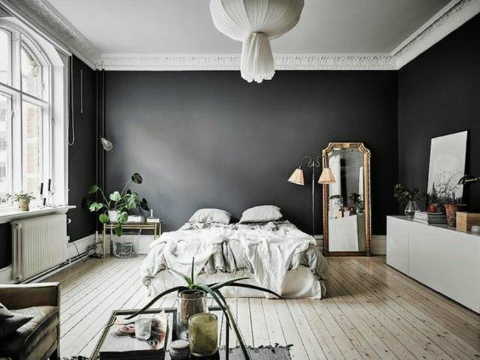 dormitorios-de-matrimonio-paredes-negros-suelo-de-madera-grande-espejo-plantas-de-decoración