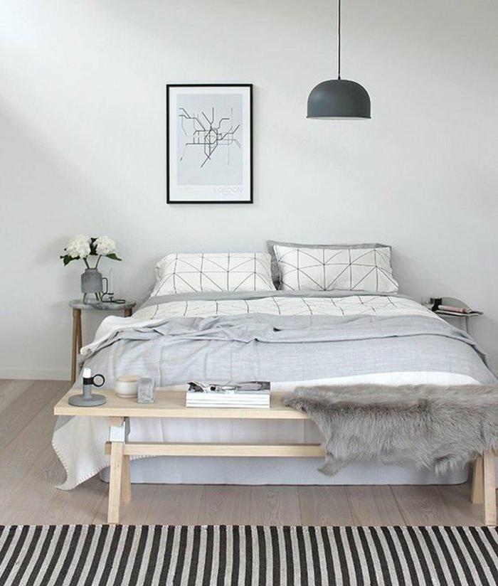 1001 ideas de decoraci n de dormitorios modernos for Muebles blancos y grises