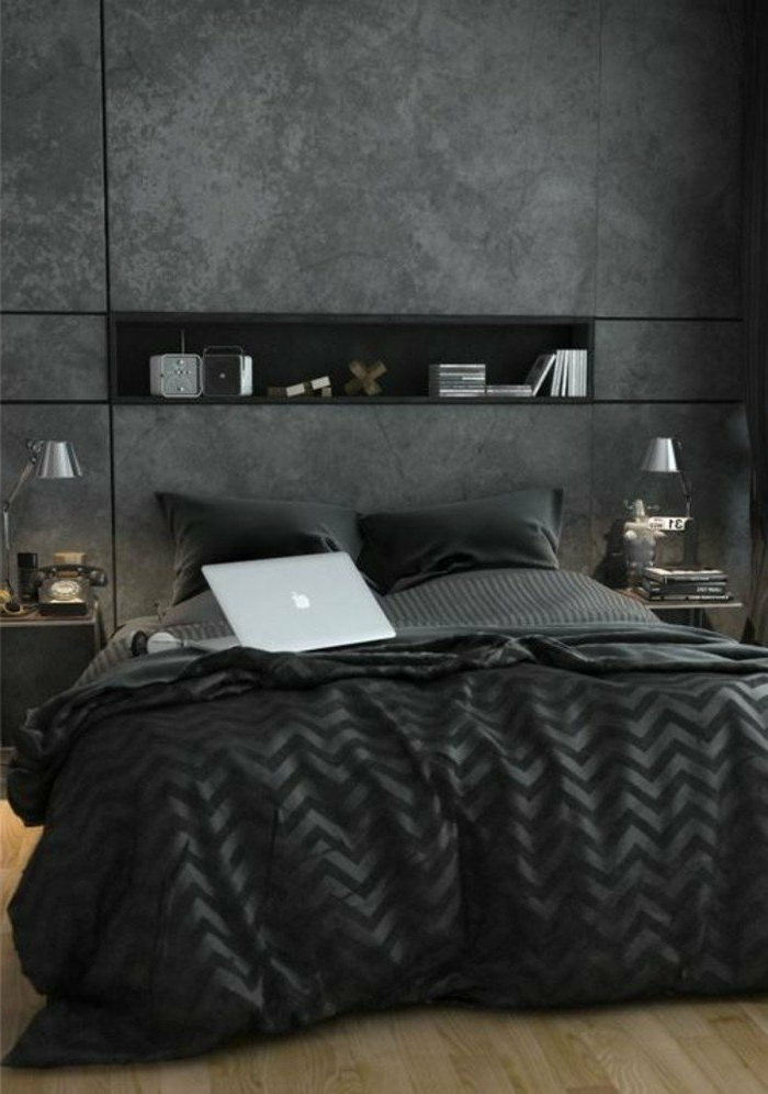 dormitorios-modernos-color-gris-y-negro-dormitorio-de-diseño-elegante