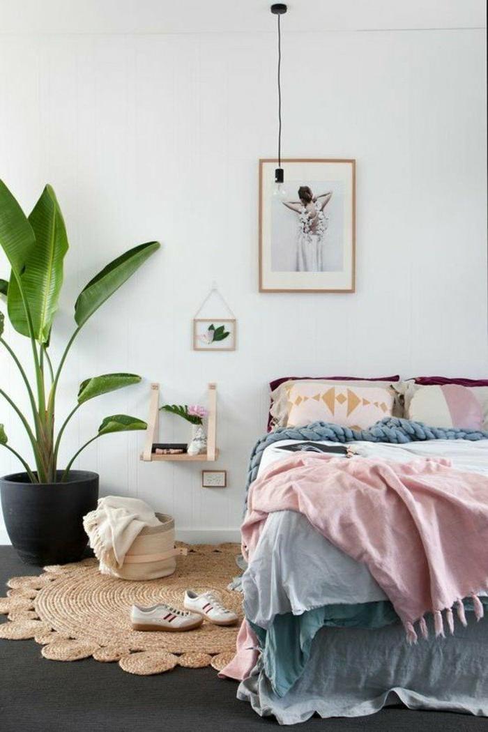 dormitorios-modernos-colores-pasteles-alfombra-interesante-decoracion-plantas