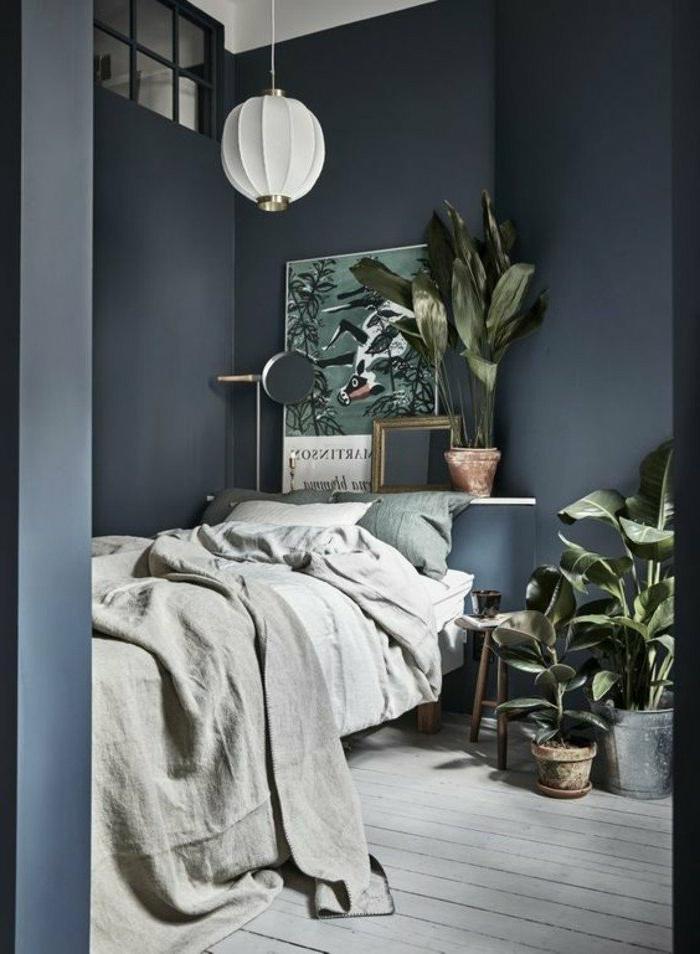 dormitorios-modernos-paredes-en-gris-muchas-plantas-dormitorio-pequeño