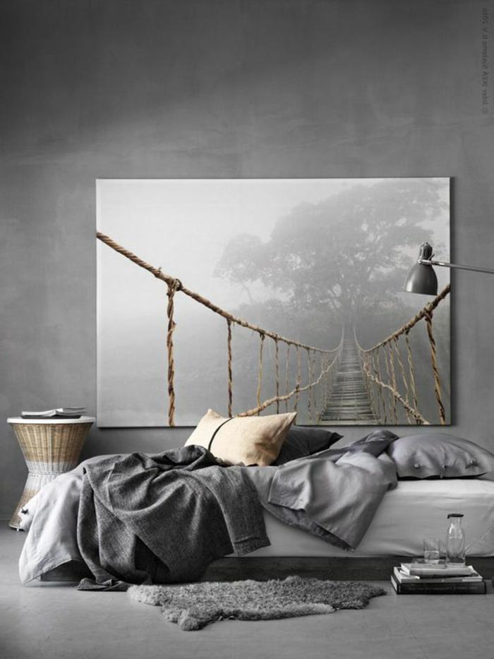 fachadas-modernas-dormitorio-minimalista-tonos-grises-cuadro-realistico-lámpara-de-metal