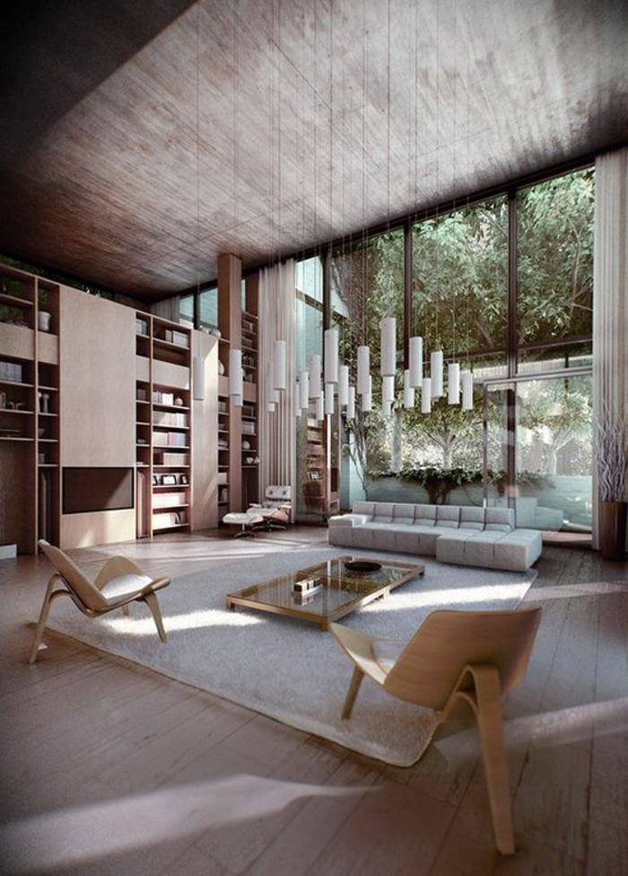 fachadas-modernas-sala-de-estar-grande-sofa-gris-dos-sillas-de-madera-lamparas-colgantes