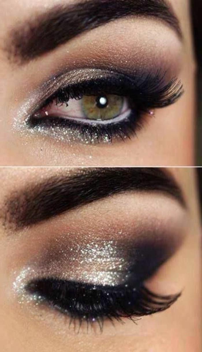 ojos-ahumados-con-purpurina-en-negro-lindos-ojos-verdes-cilios-largos