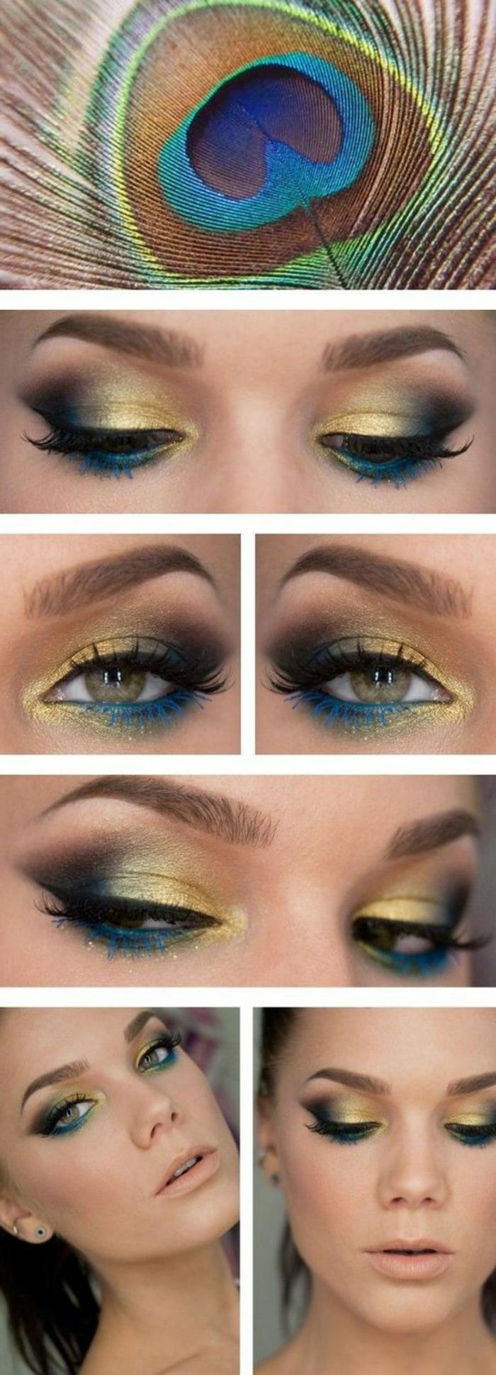 ojos-ahumados-en-tonos-de-pluma-de-pavo-real-oro-azul-negro-lápiz-de-ojos