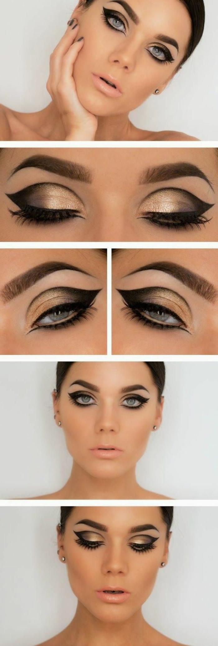 ojos-ahumados-mujer-con-ojos-azules-maquillaje-en-oro-y-negro-lapiz-de-ojos