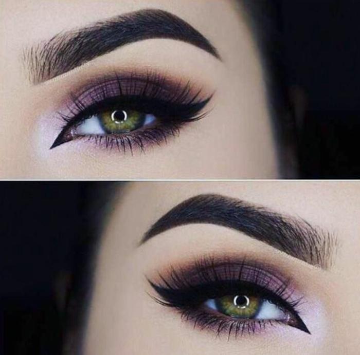 ojos-ahumados-mujer-con-ojos-verdes-maquillaje-tonos-violetas-lápiz-de-ojos-negro