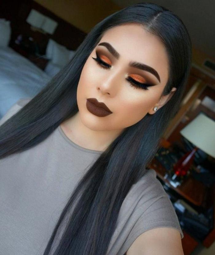 ojos-ahumados-tonos-rojos-y-marrones-labios-marrones-pelo-largo-negro