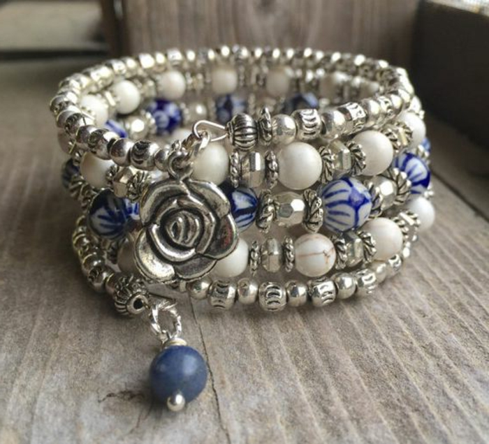 pulseras-de-moda-flores-de-plata-piedras-artificiales