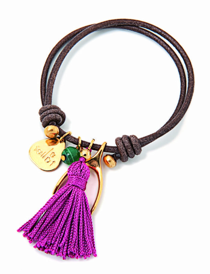 pulsera-de-plata-con-borla-violeta-pulsera-simple-elementos-de-oro