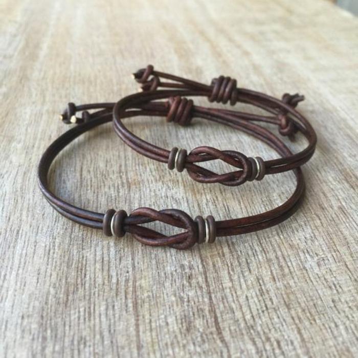 pulseras-de-moda-nudo-interesante-pulsera-de-cuero-marrón