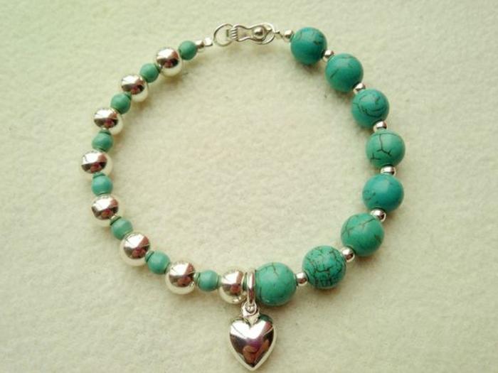 pulseras-de-moda-piedras-preciosas-corazón-de-plata