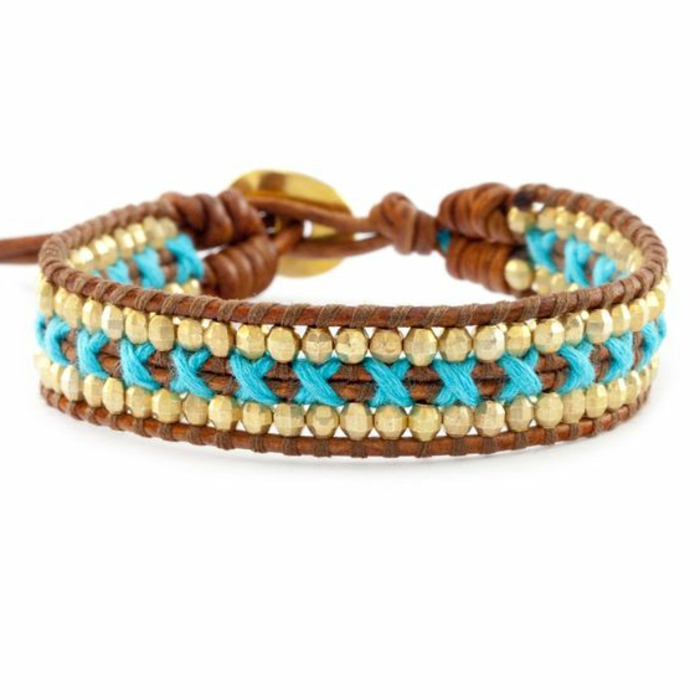 pulseras-de-oro-cuero-perlas-de-oro-hilo-azul-estilo-boho