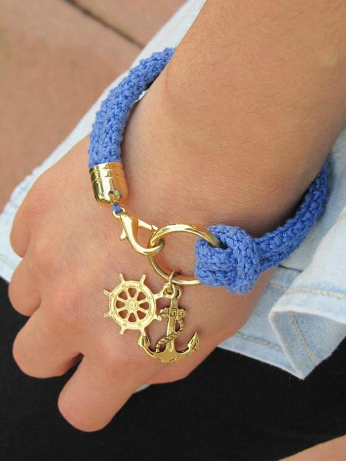 pulseras-de-oro-estilo-marinero-color-azul-pulsera-de-hilo-decoración