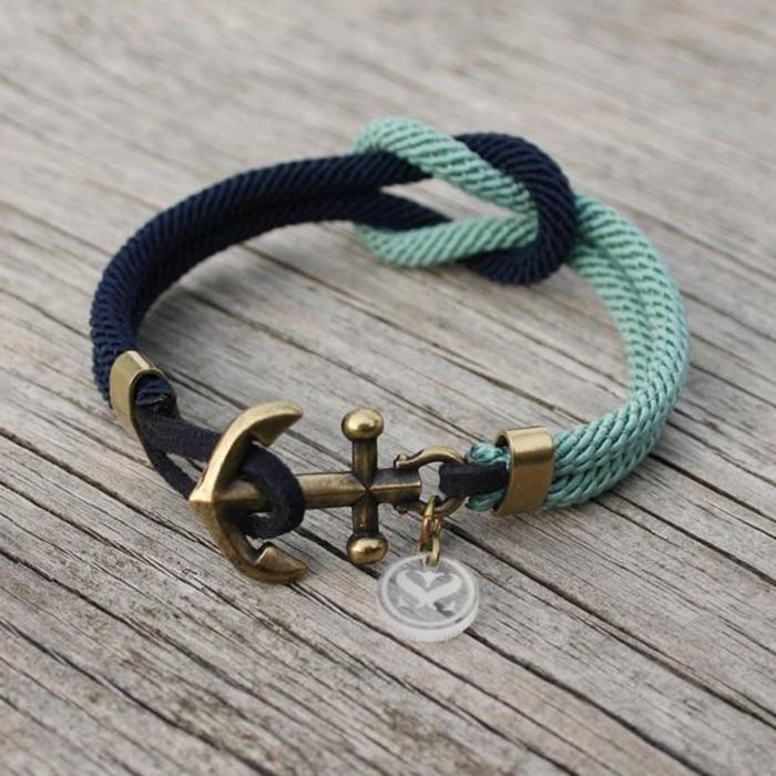 pulseras-de-oro-estilo-marinero-pulsera-de-hilo-tonos-azules