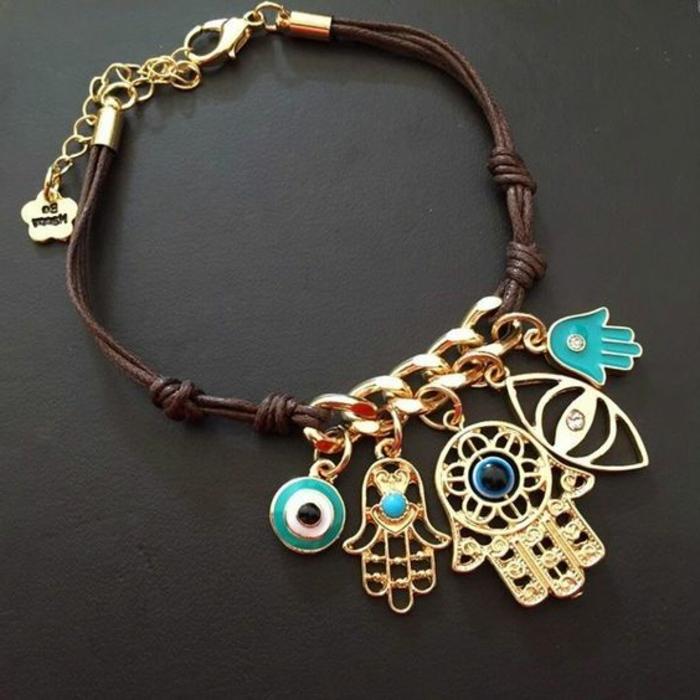 pulseras-de-oro-y-cuero-elementos-de-oro-de-proteccion-nudos-simples