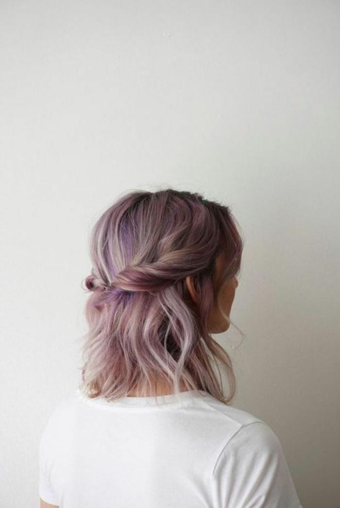 recogido-pelo-corto-color-violeta-rosa-peinado-natural-romántico-rápido-simple