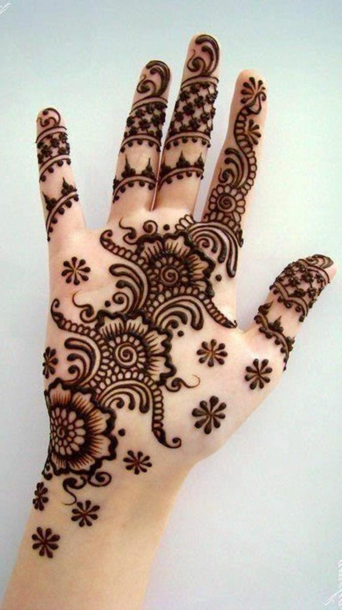 tatuaje-de-henna-diseño-de-grandes-y-pequeños-flores-mano-de-mujer